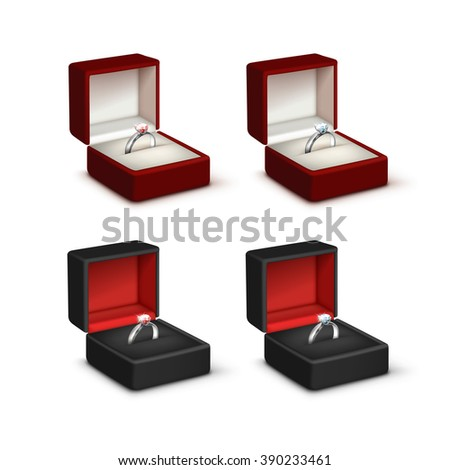 Vector Set of Silver Engagement Rings with Pink and White Shiny Clear Diamonds in Red and Black Jewelry boxes Close up Isolated on White Background