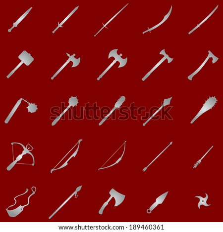 Vector set of 25  silver medieval weapon icons - stock vector
