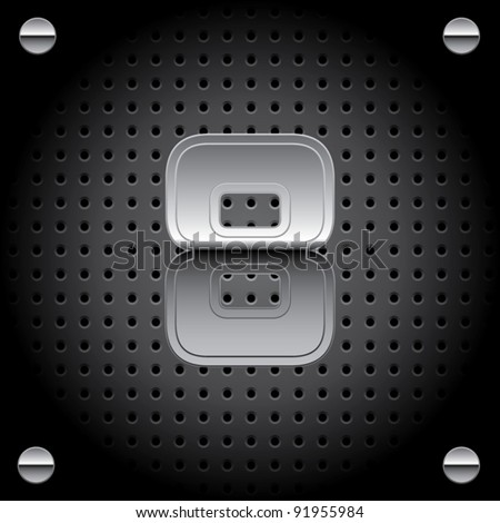 Vector set of silver metal font on metallic perforated background - number eight - 8