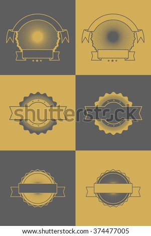 Vector set of simple blank tags, labels, frames for scrapbook and design. Gold and gray - stock vector
