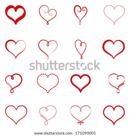 Vector set of simple hearts - stock vector