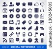 Vector set of simple social network icons. - stock photo