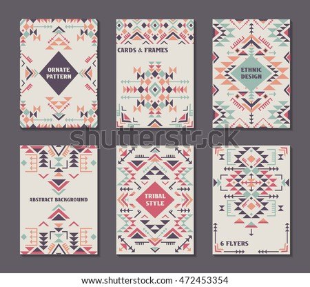 Vector set six cards ethnic ornate stock vector 472453354 shutterstock vector set of six cards ethnic ornate pattern with geometric shapes flyers with abstract stopboris Choice Image