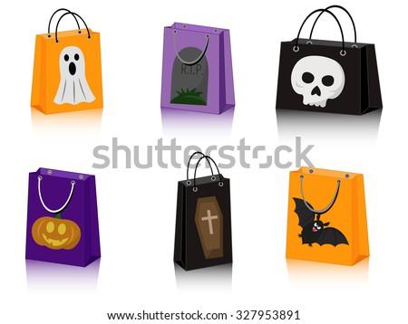 vector set of six Halloween paper bags with Halloween symbols - stock vector