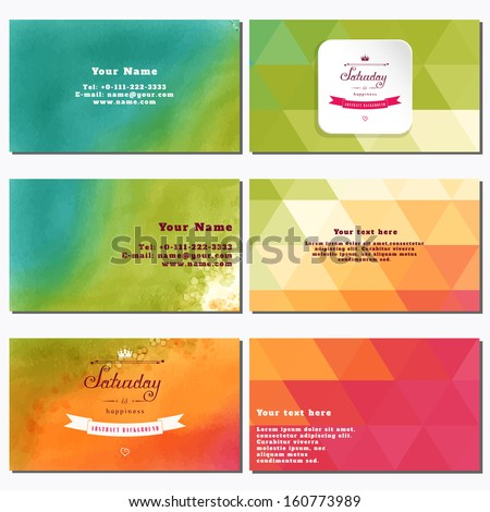 Vector set of six horizontal business cards. Multicolored triangles. Beautiful inscription in retro style - Saturday is happiness. Place for your text. Complied with the standard sizes. - stock vector