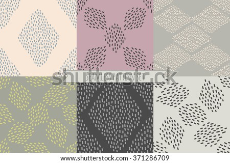 Vector set of six repeating designs in trendy neutral colors. Abstract minimalistic Scandinavian seamless patterns with paint brush marks. Separated in layers for easy editing. - stock vector