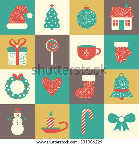 vector set of sixteen colorful christmas icons. EPS - stock vector