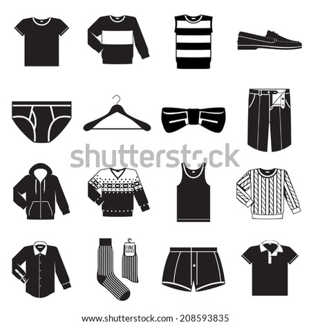 Vector set of sixteen different black men wear (fashion) icons on white background  - stock vector