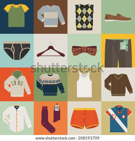Vector set of sixteen different colorful men wear (fashion) square icons I Colorful background featuring different men wear items  - stock vector