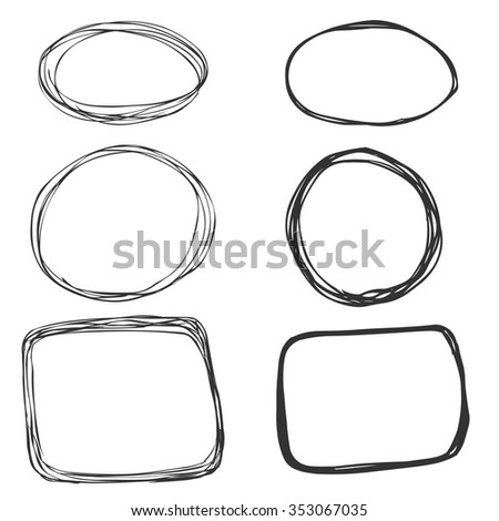 Vector Set of Sketch Abstract Doodle Frames. Circle and Rectangle - stock vector