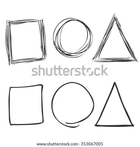 Vector Set of Sketch Abstract Doodles. Square, Circle, Triangle - stock vector