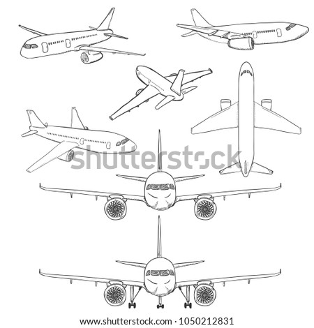 Aeroplane sketch stock images royalty free images vectors shutterstock - Croquis avion ...