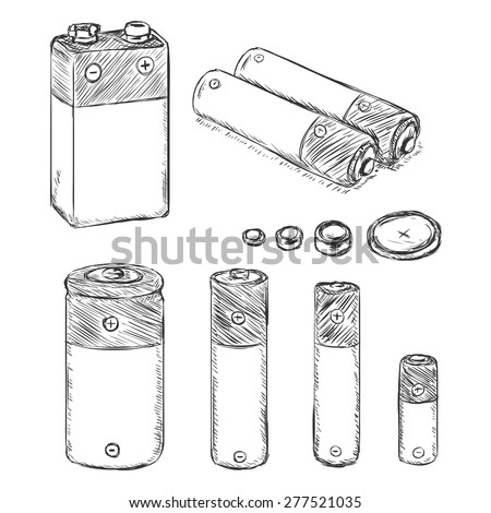 Vector Set of Sketch Batteries. Types of Batteries - 9v, C, AA, AAA, A23, Lithium Batteries. - stock vector