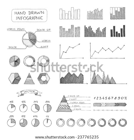 Vector set of sketch business infographic elements. Doodles hand-drawn pencil elements isolated on white background. - stock vector