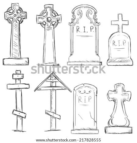 Vector Set of Sketch Cemetery Tombstones - stock vector