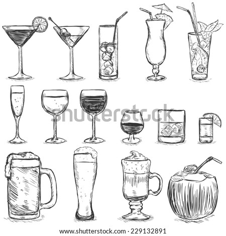 Vector Set of Sketch Cocktails and Alcohol Drinks - stock vector