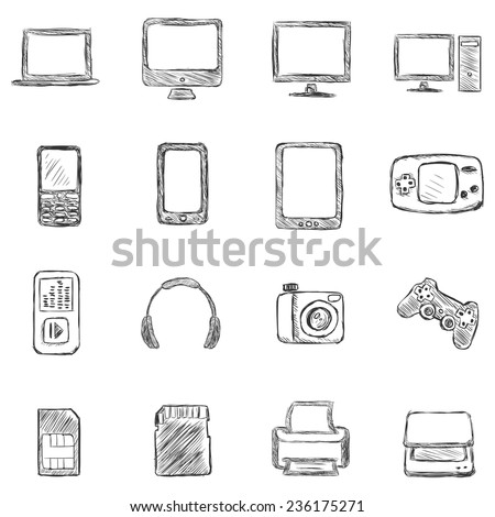 Vector Set of Sketch Computer Devices Icons - stock vector