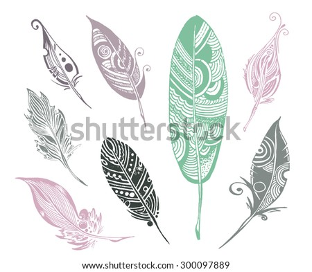 vector set of 8 sketch fethers - stock vector