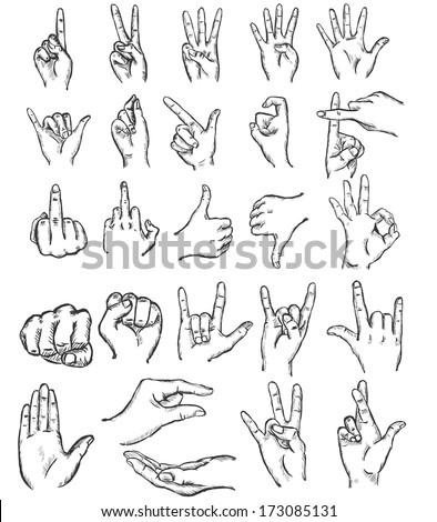 vector set of sketch finger gestures - stock vector