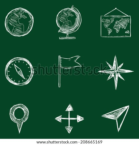 Vector Set of Sketch Geography Icons. Chalk on a Blackboard. - stock vector
