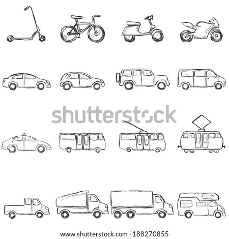 Vector Set of Sketch Ground Transportation Icons - stock vector