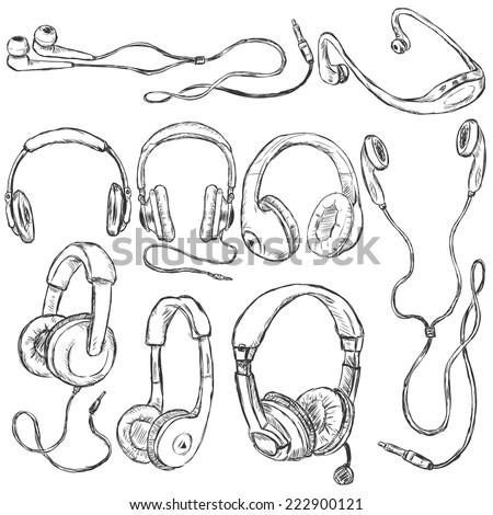 Vector Set of Sketch Headphones. Circumaural, Supra-aural, Earbuds, In-ear and Other Types of Headphones - stock vector