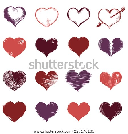 Vector Set of Sketch Hearts - stock vector