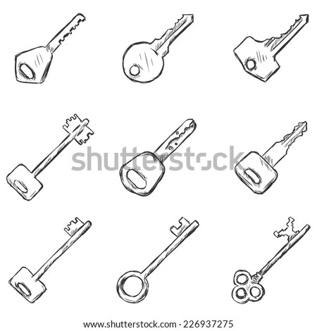 Vector Set of Sketch Keys Icons. Modern and Antique Keys. Types of Keys.