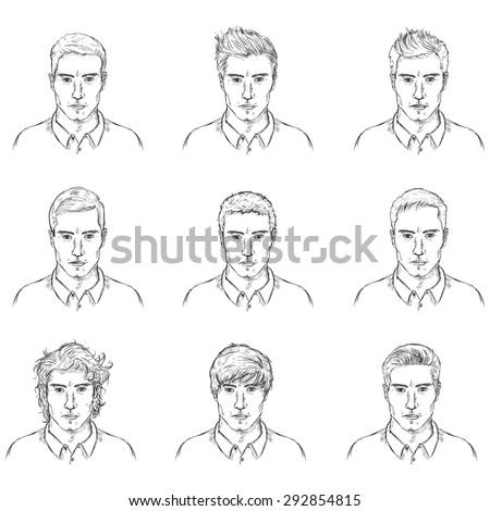 Fabulous Vector Set Sketch Male Faces Types Stock Vector 292854815 Short Hairstyles Gunalazisus