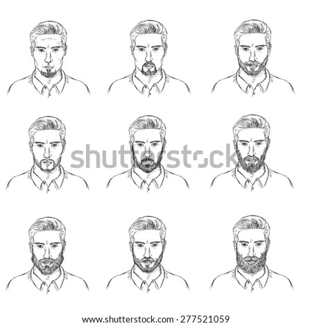 Vector Set of Sketch  Mens Faces with Beards. Types of Beards - stock vector
