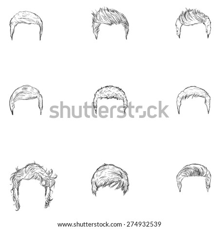 Vector Set of Sketch Mens Hairstyles - stock vector