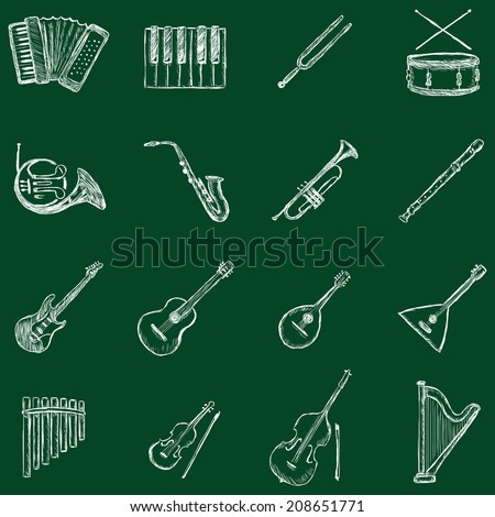 Vector Set of Sketch Musical Instruments Icons. Chalk on a Blackboard. - stock vector
