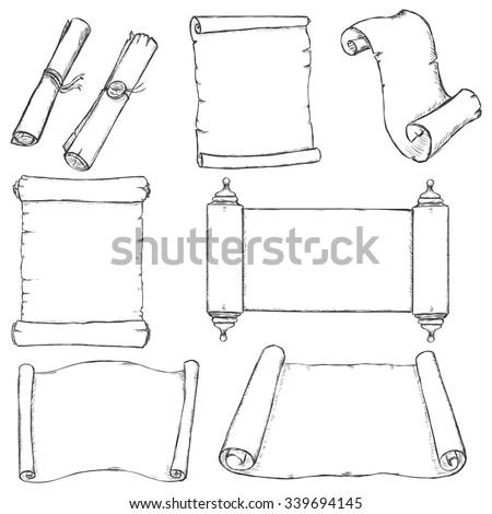 Vector Set of Sketch Scrolls - stock vector
