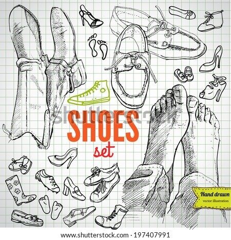 Vector Set of Sketch Shoes, vector illustration hand drawn - stock vector