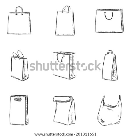 Vector Set of Sketch Shopping Bags Icons - stock vector