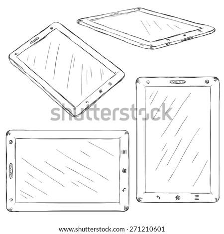 Vector Set of Sketch Tablet PC - stock vector