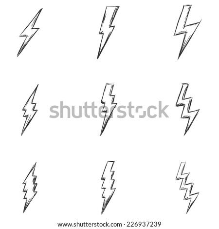 Vector Set of Sketch Thunder Lighting Icons. - stock vector
