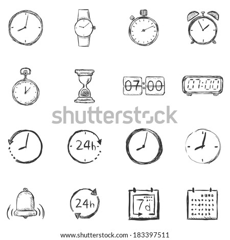 Vector Set of Sketch Time Icons - stock vector