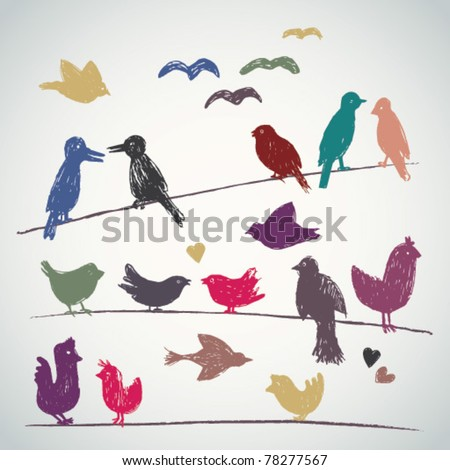 Vector set of sketched birds on a wire