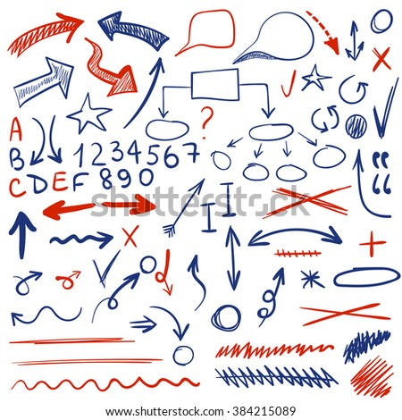 VECTOR set of sketched icons. Elements for text correction or planning in blue and red colors.  - stock vector