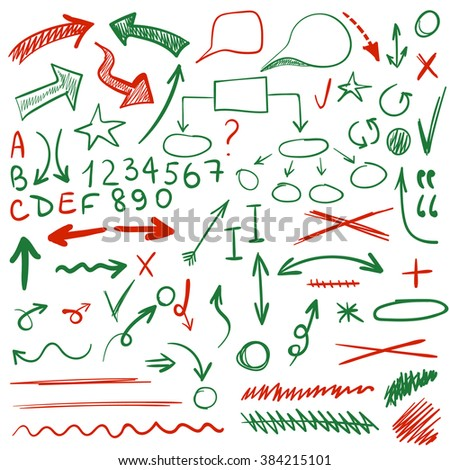 VECTOR set of sketched icons. Elements for text correction or planning in green and red colors.  - stock vector