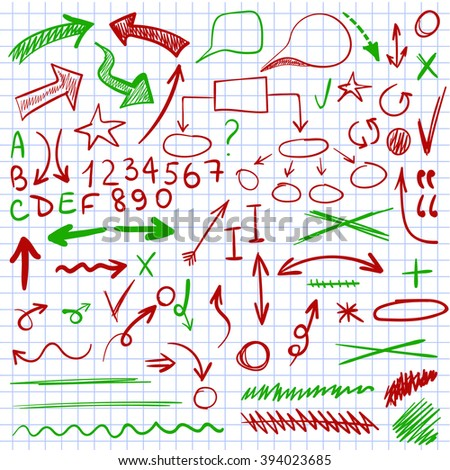 VECTOR set of sketched icons on notebook paper. Elements for text correction or planning in green and red colors.  - stock vector