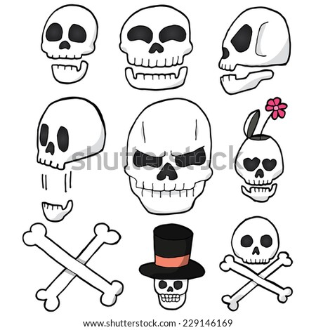 vector set of skull cartoon - stock vector