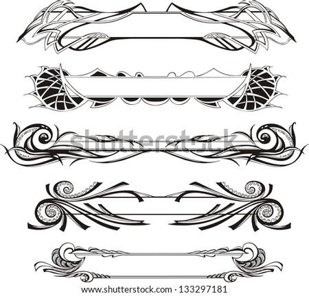 Vector set of slim decorative panels - stock vector