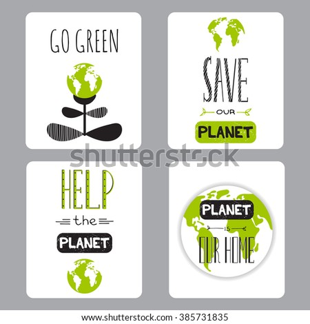 Vector set of small card templates. Suitable for Earth Day and Earth hour holidays. For greeting cards, brochures, tags and labels, souvenirs, invitations, calendars and party designs.  - stock vector
