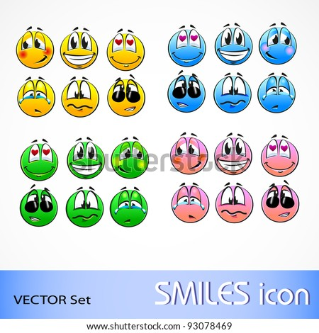 vector set of smile icon in different color - stock vector