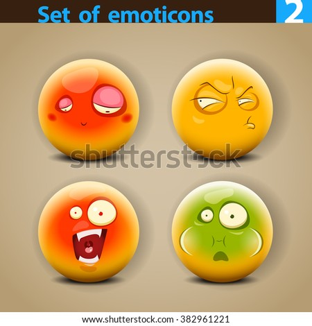 Vector set of smiley faces with different emotions - stock vector