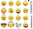 Vector set of smiley icons with different face expression - stock vector