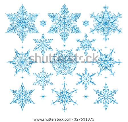 Vector set of snowflakes - icons