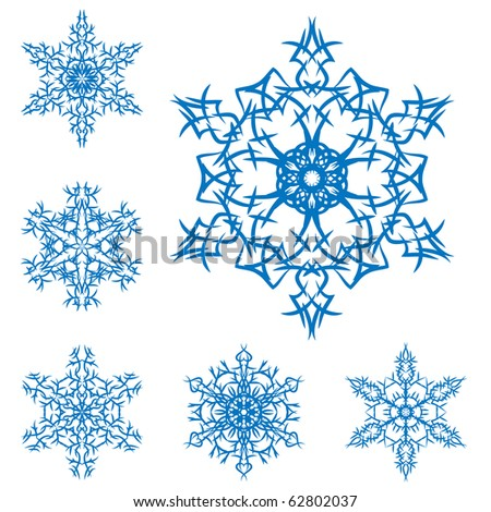 vector set of snowflakes on a white background - stock vector